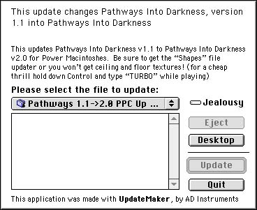 Updater 1.1 to 2.0 Dialog Box